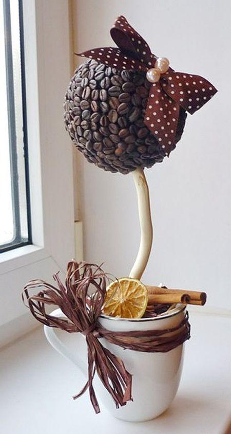 Как делать кофейные деревца в виде сердца мастер класс