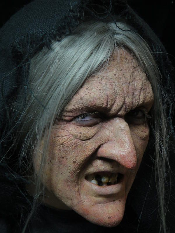 """""""witch"""" makeup with prosthetic hooked nose photograph"""