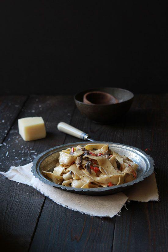 // mushroom pappardelle, goat cheese cream sauce