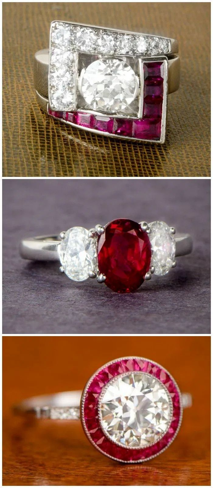 Three beautiful rings with rubies from Estate Diamond Jewelry.