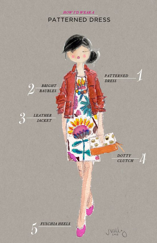 How to wear a Patterned dress by Jennifer Vallez via @Jò in Wonderland Cho / Oh Joy!