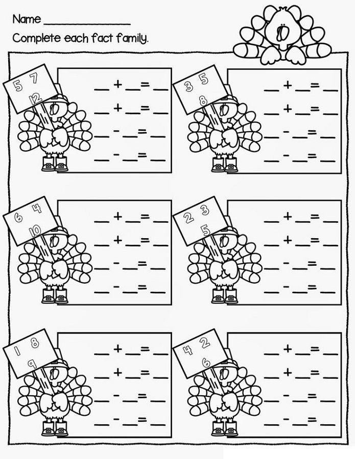 Printable Worksheets thanksgiving first grade worksheets : Fact Families Worksheets First Grade | Activity Shelter | Math ...