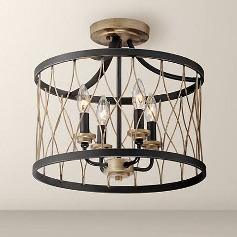 Witmer black bronze 16 wide 4 light ceiling light 7k606 lamps