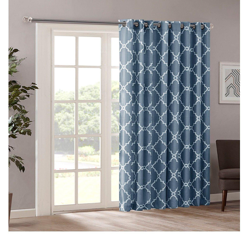 1 Piece Teal Blue Scroll Geometric Window Curtain 84 Inch Single