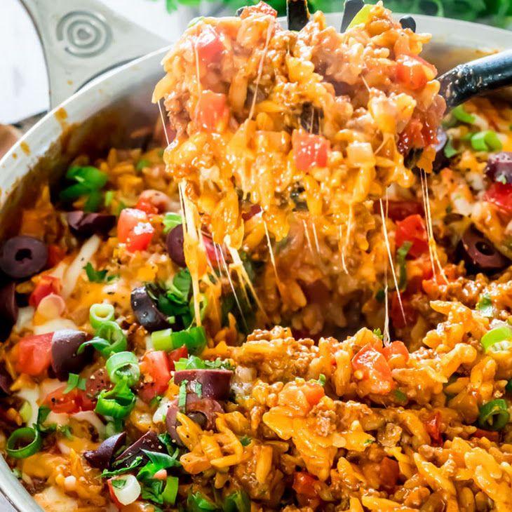 One Pot Cheesy Taco Orzo Recipe Yummly Recipe Food Recipes Mexican Food Recipes