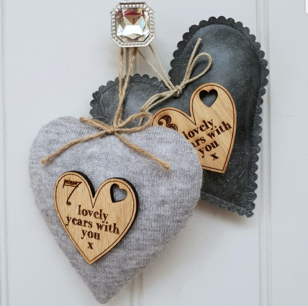 A little handmade wool heart perfect to gift for a 7th