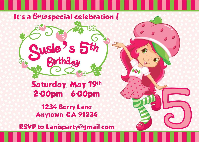 Free FREE Template Strawberry Shortcake Birthday Party Invitations ...