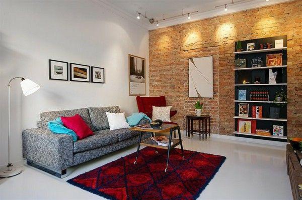Ziegelwand Wohnzimmer ~ Skandinavische möbel wohnzimmer skandinavisch einrichten