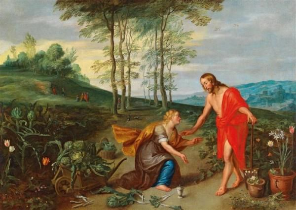 "Jan Brueghel II - (Antwerp 1601–1678) - Noli me tangere, - oil on canvas,[...], mis en vente lors de la vente ""Peintures de Maîtres Anciens"" à Dorotheum 