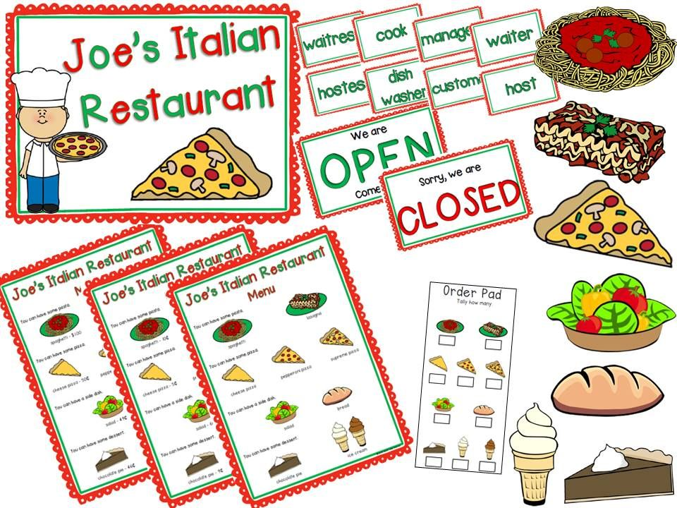 Italian Food Restaurant Names: Restaurant Dramatic Play {Italian Restaurant}