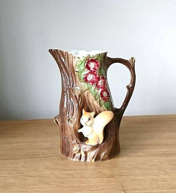 Vintage Jug Vase Squirrel Hornsea Fauna Royal Made In England No 69