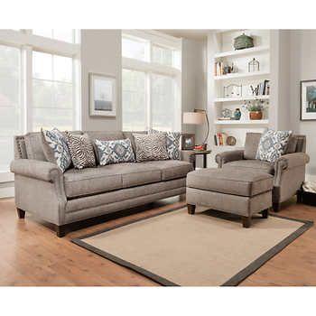 Kerrington 3 Piece Fabric Set Gray Living Room Sets Leather