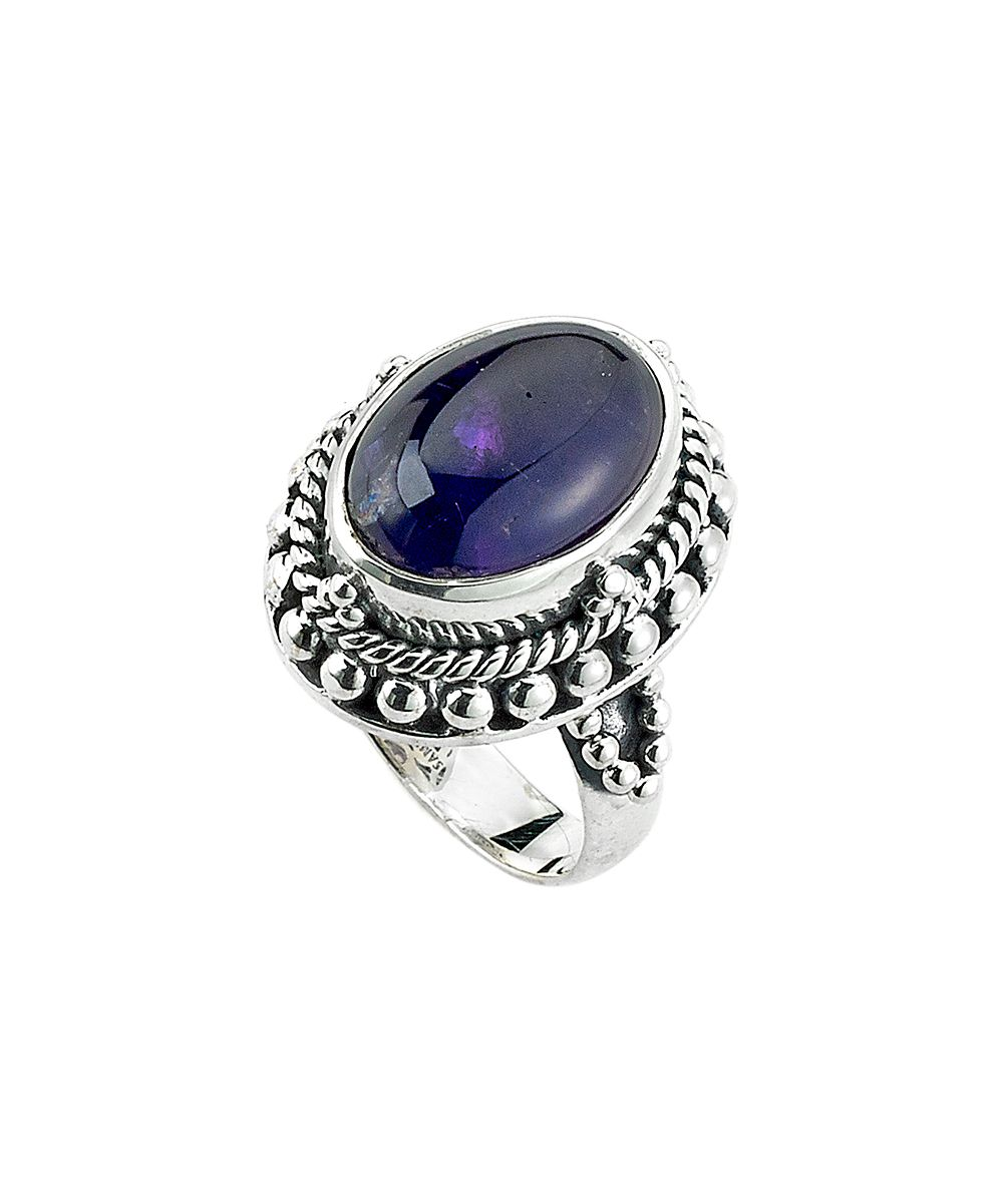 Amethyst & Sterling Silver Textured-Setting Ring