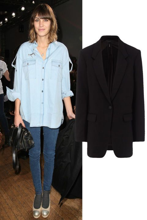 Alexa Chung's black blazer. See 4 other ways to make the Canadian tuxedo work and shop this look.