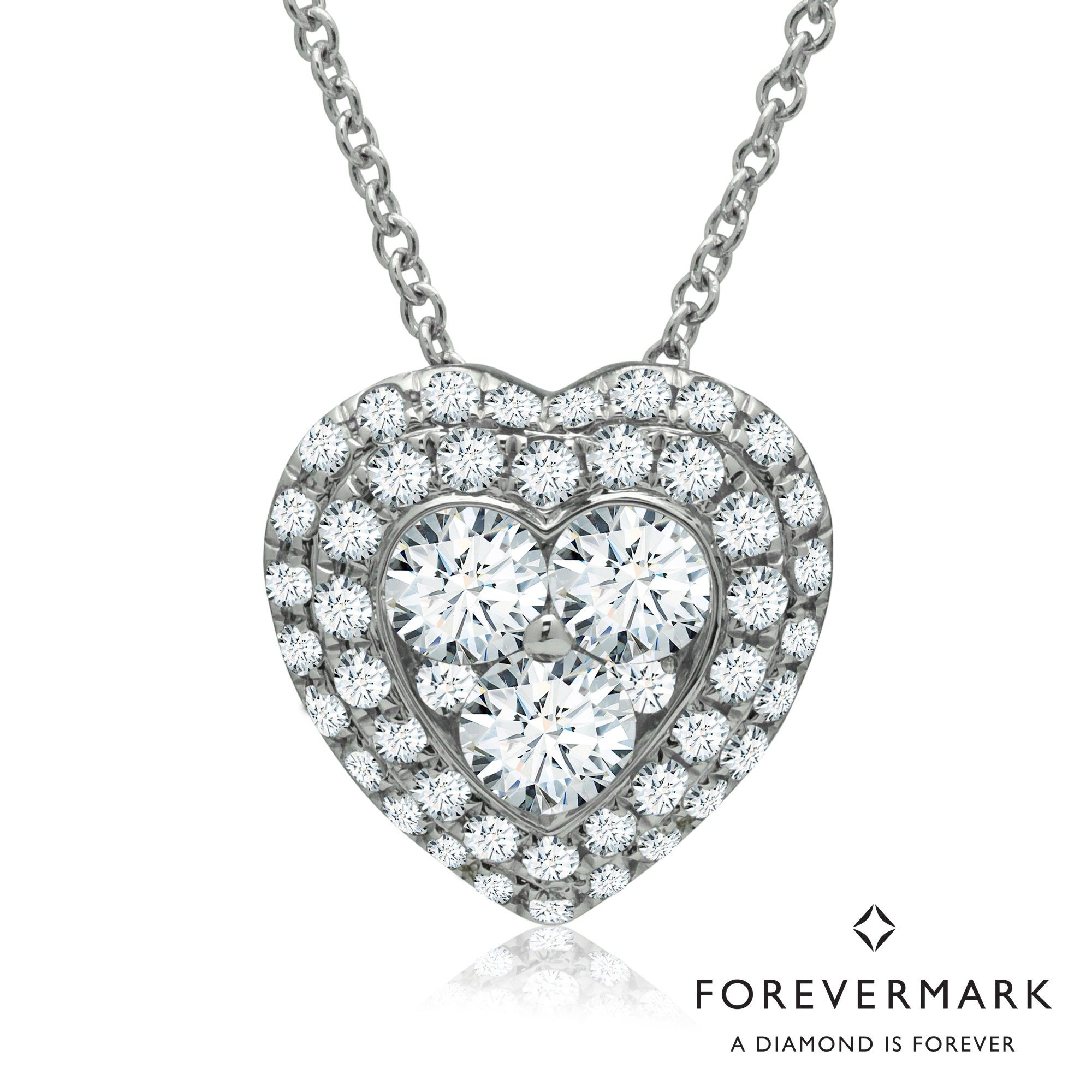 3f164560820 Forevermark Diamond Heart Halo Necklace in 18kt White Gold (3 4ct tw ...