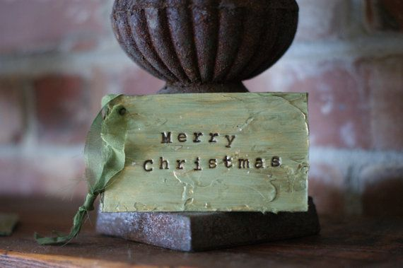 3 Green Christmas Gift Tags Merry Christmas by PaperandMallet