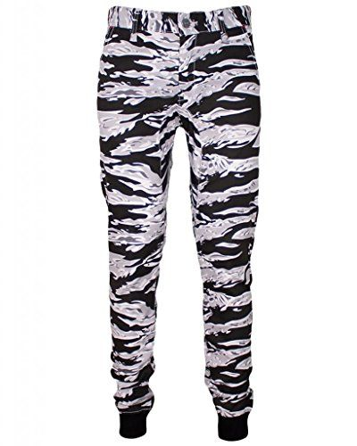 1d423c2e9902 Kayden K Mens Tapered Ribbing Tiger Camo Jogger Pants (34, Snow) Kayden K
