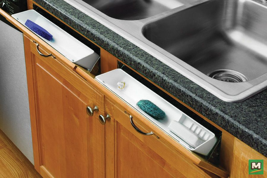 Unclutter Your Kitchen With A Rev A Shelf 14 Sink Front Tip Out Tray Featuring Two White Trays And Tw Kitchen Sink Diy Kitchen Design Small Kitchen Remodel