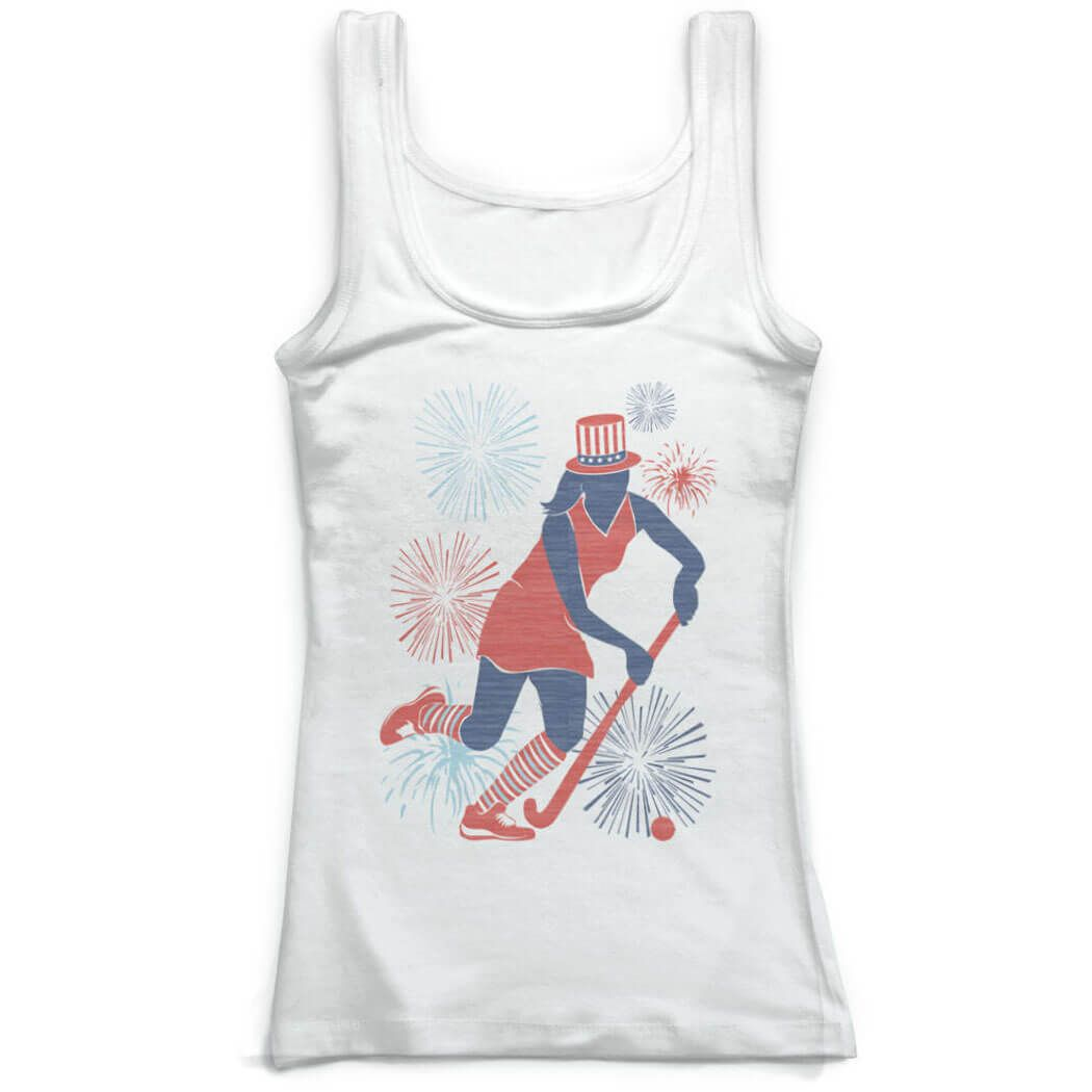 Field Hockey Fitted Tank Top Usa Field Hockey Girl Women S M Field Hockey Usa Patriotic Apparel Field Hockey Girls Athletic Tank Tops Workout Tank Tops