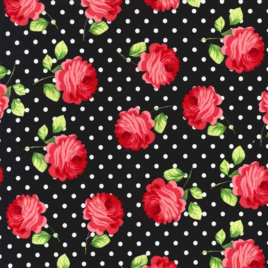 Fabric Rosy Dot Floral Red Roses Flowers with White Polka ...