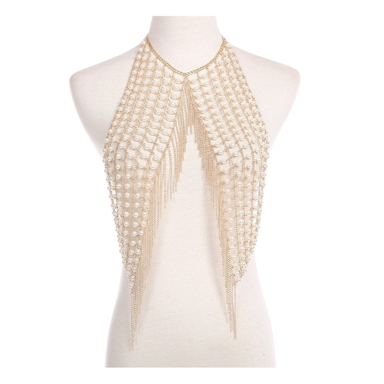 Open Bra Body Chains Thick Harness Party Club Women Bikini Beach Necklace