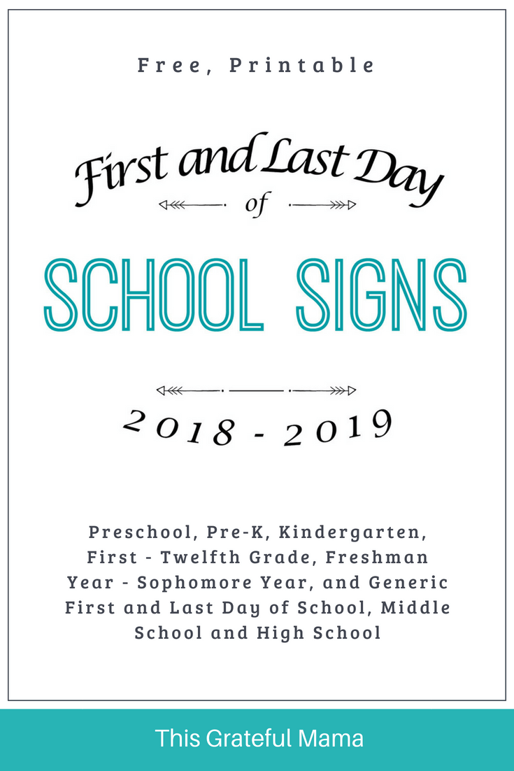 graphic regarding Last Day of School Signs Printable named 2018-2019 Printable Very first and Final Working day of University Indications
