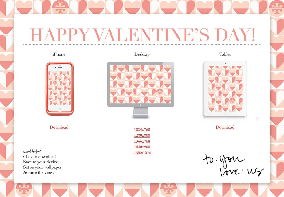 Free - Tory Burch - Valentine's Day wallpaper for iPhone, iPad, etc.