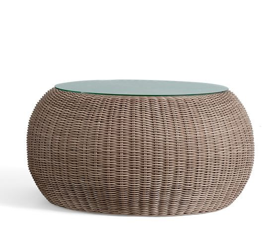 Beautiful Torrey All Weather Wicker Round Coffee Table   Natural   Pottery Barn