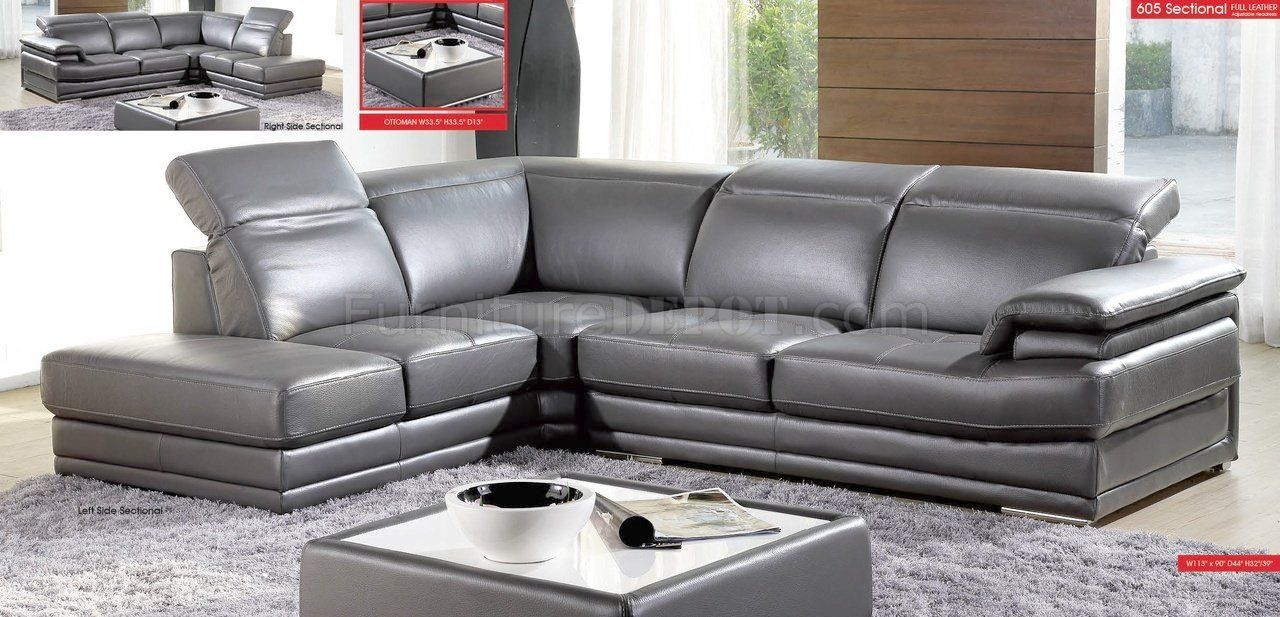 Cool Charcoal Grey Leather Sofa