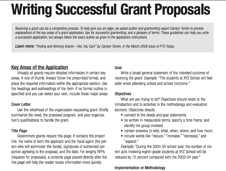 Tips for writing successful grant proposals (3 pages