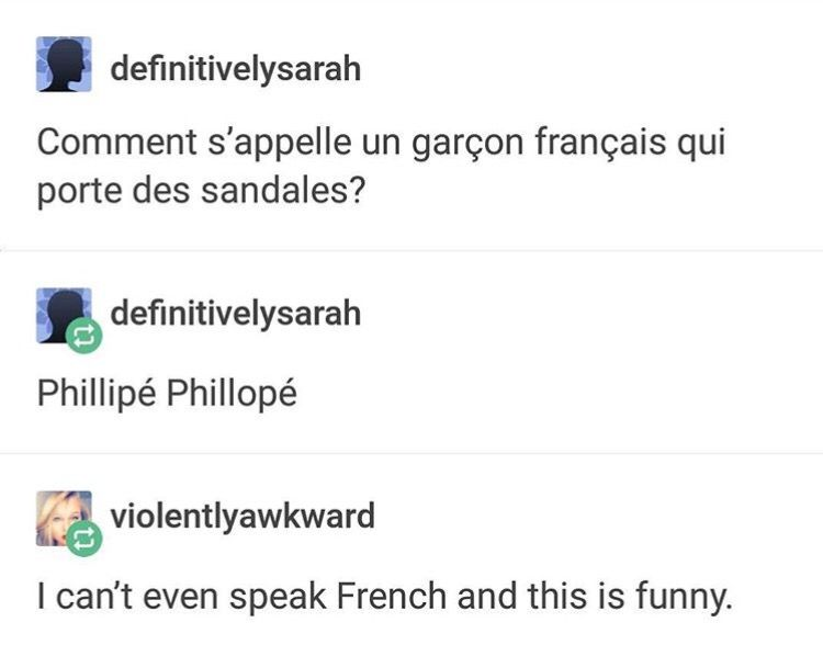 "3381f7ef8 ""What s the name of a French boy who wears sandals "" ""Phillipé Phillopé"" ( flip-flop)"