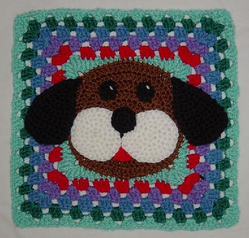 Ahhh-dorable Puppy Dog Granny Afghan Square: free pattern | Crochet ...