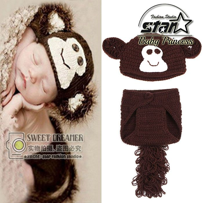 13971974f70 Newborn Baby Photography Props Costume Cap Infant Crochet Outfits  Accessories Baby Handmade Monkey Knitted Clothes