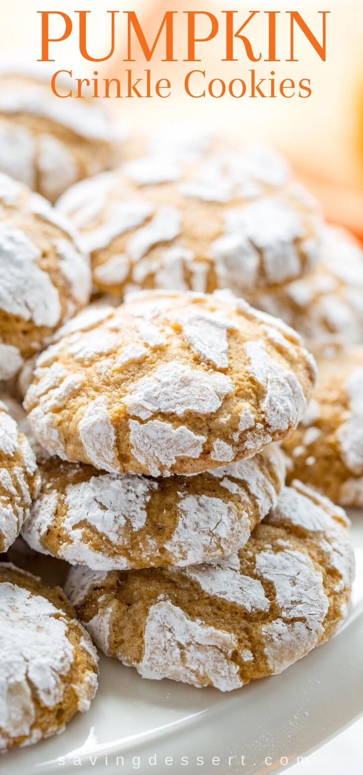 Pumpkin Crinkle Cookies ~ soft and sweet, with plenty of pumpkin flavor and pumpkin pie spice, these easy to make cookies are the perfect fall bite! #pumpkin #pumpkincrinklecookies #crinklecookies #cookies #dessert #fallcookies #autumnbaking