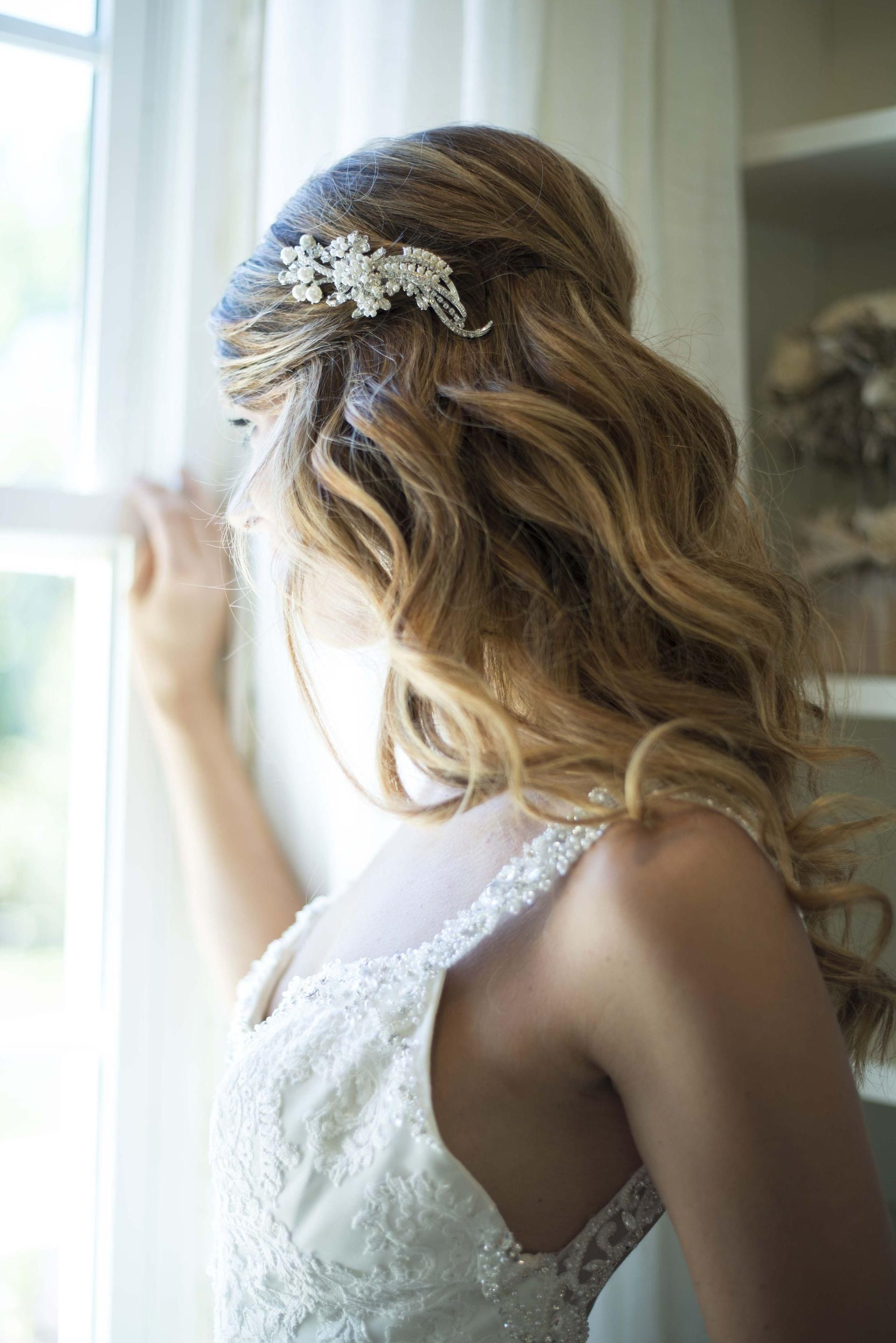 romantic bridal hairstyle, cascading curls, glam pearl hair