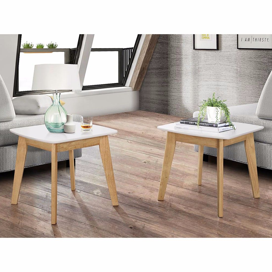 Retro Modern End Table In White Natural Set Of 2 Walker Edison C20strmwnl Mid Century Modern Side Table Modern End Tables Saracina Home [ 1100 x 1100 Pixel ]