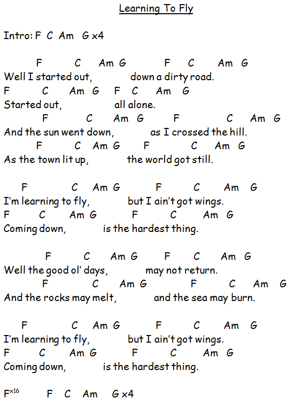 learning to fly in 2019 guitar chords lyrics song lyrics chords lyrics chords