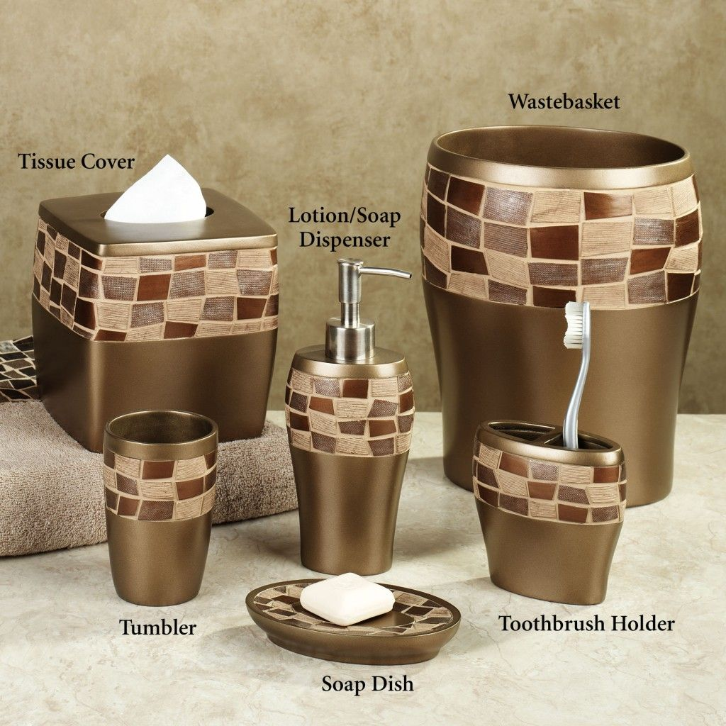 Elegant Bathroom Accessories Set With Golden Color And Garnish Box