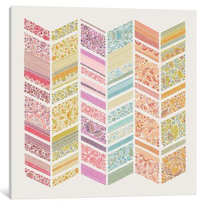 """East Urban Home 'Zig Zag Summer' Graphic Art Print on Wrapped Canvas Size: 12"""" H x 12"""" W x 0.75"""" D"""