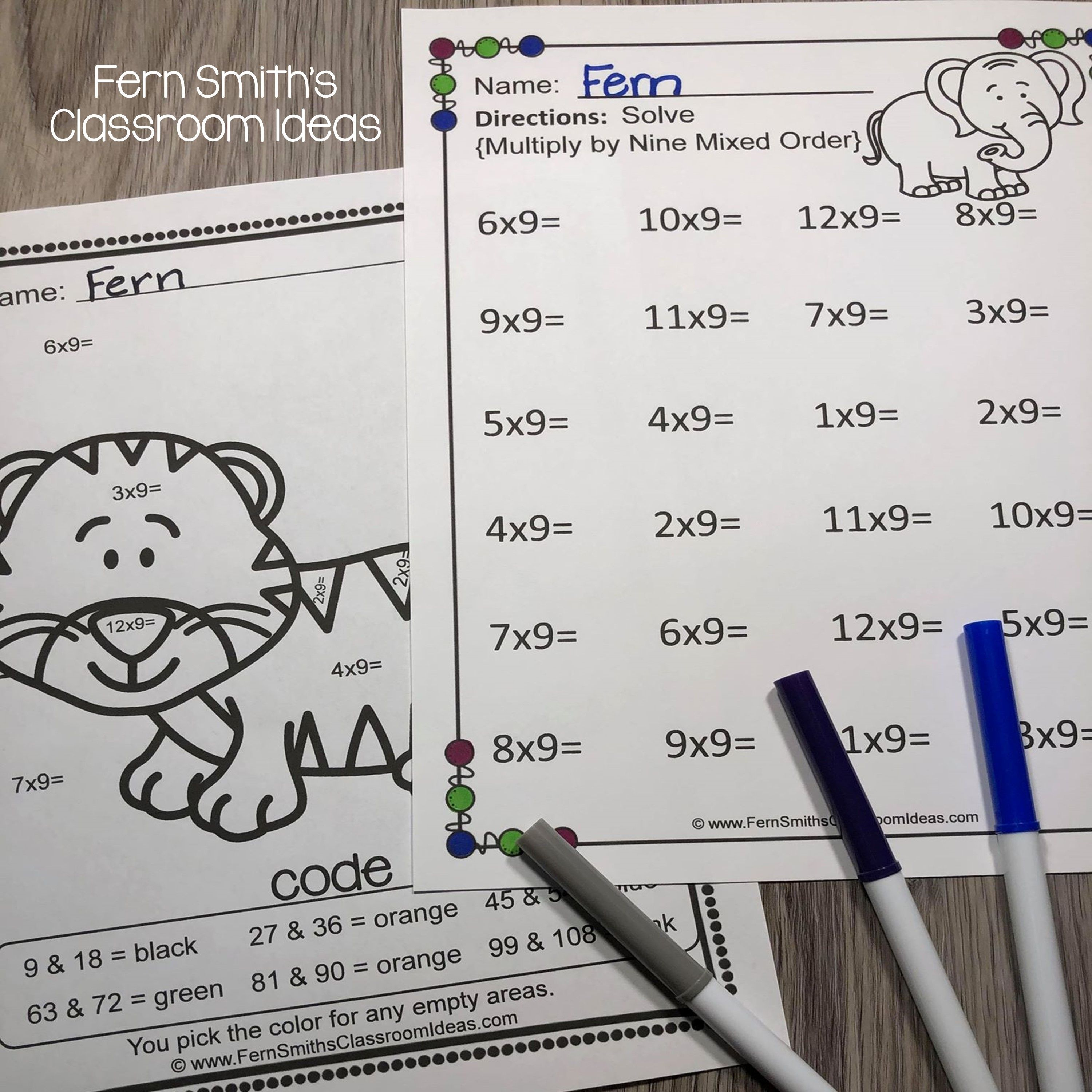 3rd Grade Go Math 4 9 Multiply With 9 Color By Number And