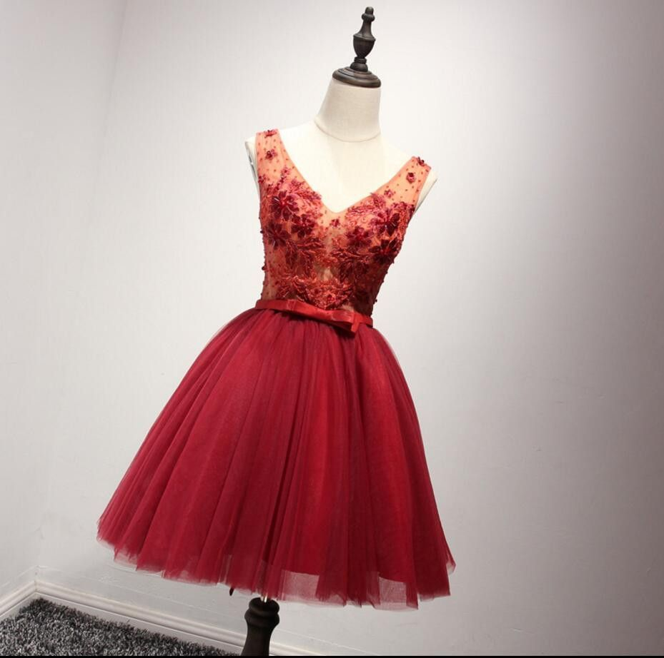 V neckline red lace see through homecoming prom dresses affordable