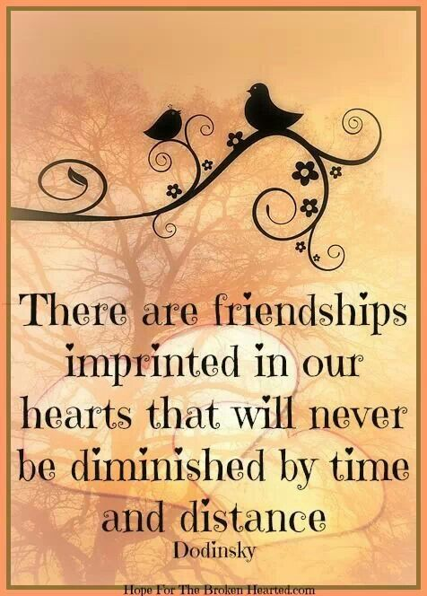There Are Friendships Imprinted In Our Hearts That Will Never Be Diminished By Time Distance Friends Quotes Friendship Quotes Best Friend Quotes