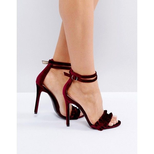 36d80c33832 Public Desire Pheonix Burgundy Velvet Ruffle Heeled Sandals ( 38) ❤ liked  on Polyvore featuring shoes