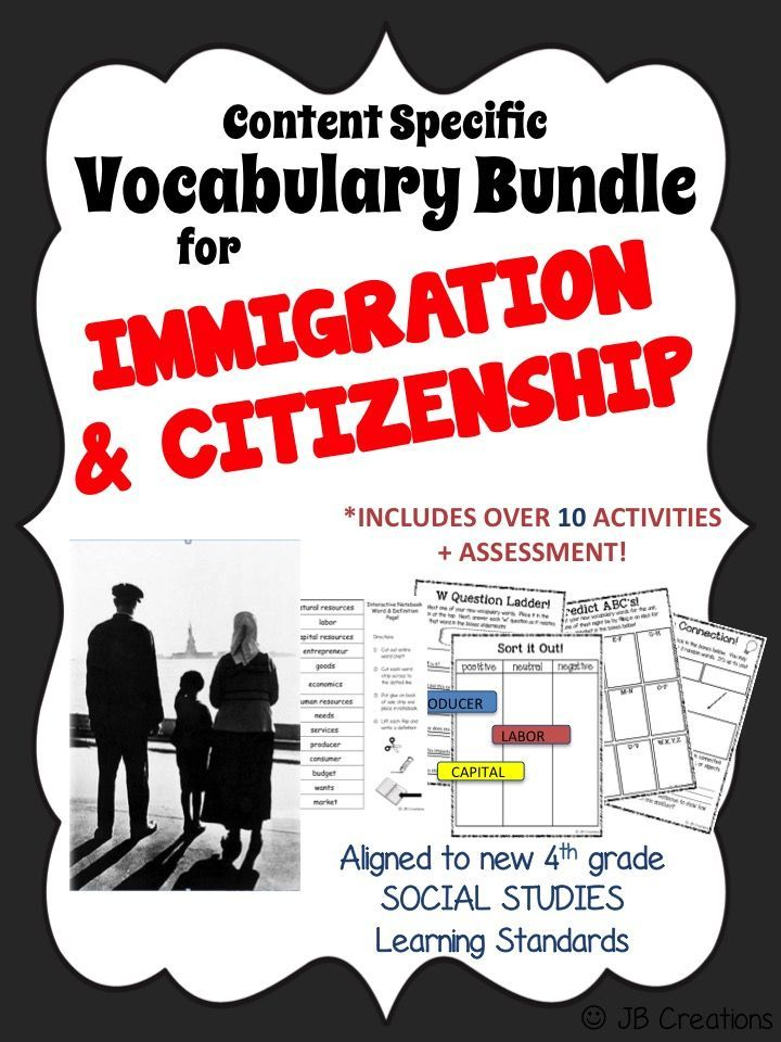 4th Grade Immigration Content Specific Vocabulary Activity Pack Ohio Model Vocabulary Activities Vocabulary Social Studies Resources