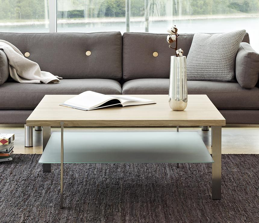 Solid Wood And Glass Luxury Low Level Coffee Table With Storage