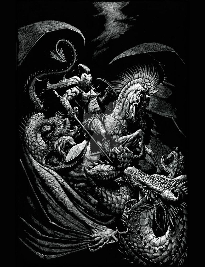 st george and the dragon by smorrisonart awesome art pinterest scratchboard dragons and. Black Bedroom Furniture Sets. Home Design Ideas