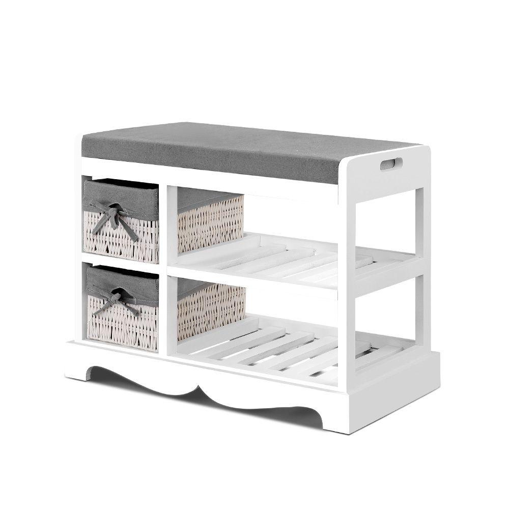 Artiss Shoe Cabinet Bench Rack Wooden Storage Organiser Shelf Stool 2 Drawers Storage Furniture Bedroom Bedroom Storage Storage Furniture