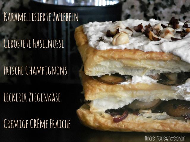 Blätterteig mit Ziegenkäse, Champignons, Creme fraiche und Haselnüssen getoppt - mal was anderes :) - http://www.tinastausendschoen.de/kochen-foodchallenge-herzhaftes-mi/