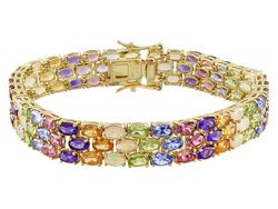 2014 Jtv Holiday Collection Stratify(Tm) 22.41ctw Opal And Multi-gem 18k Gold Over Silver Bracelet