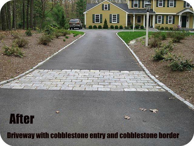 Cobblestone Border And Entry To Asphalt Driveway Driveway Asphalt Driveway Driveway Landscaping